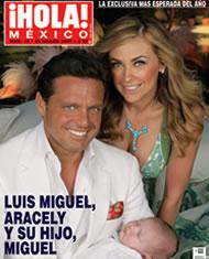 Luis Miguel y Aracely Arámbula con su hijo en revista Hola
