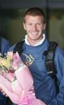David Beckham recibe flores en Corea