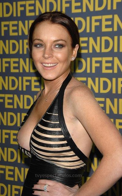 Lindsay Lohan con un llamativo y sexy vestido