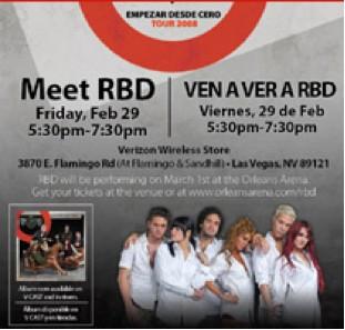 Firma de autógrafos de RBD el 29 de febrero en Las Vegas