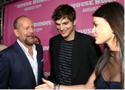 Demi Moore, bruce willis y Ashton Kutcher