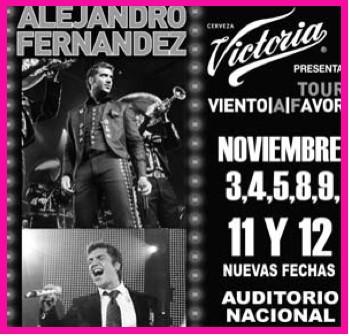 Alejandro Fernandez 11 y 12 noviembre en Auditorio Nacional