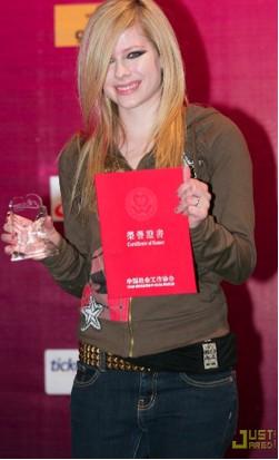 Avril Lavigne recibió reconocimiento en China