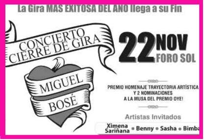 Miguel Bosé con Ximena Sariñana, Benny, Sasha y Bimba en Foro Sol