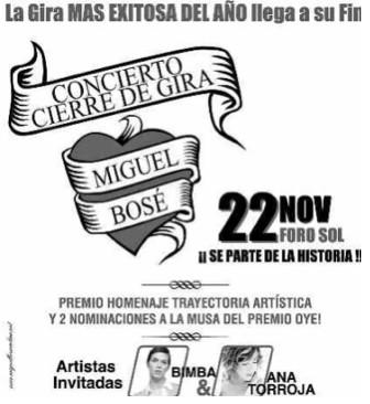 Ana Torroja y Bimba invitadas especiales de Miguel Bosé en el Foro Sol
