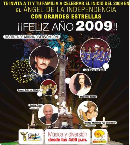 Joan Sebastian y Los Tigres del Norte reciben el 2009 en el Ángel de la Independencia