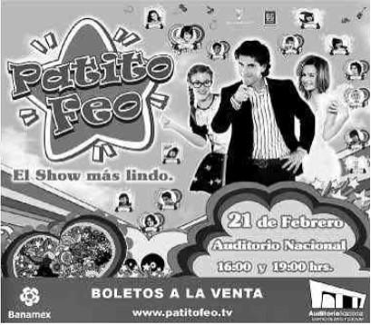 Patito Feo 21 de febrero en Auditorio Nacional