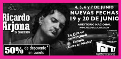 Ricardo Arjona 19 y 20 de junio en Auditorio Nacional