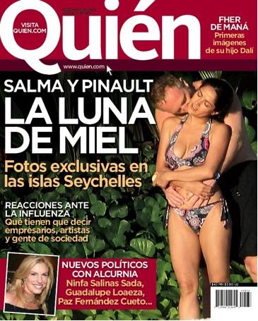 Salma Hayek de Luna de Miel en Revista Quién