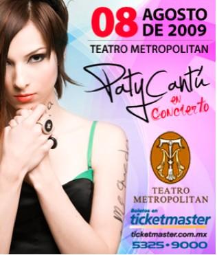 Paty Cantú 8 de agosto en el Teatro Metropolitan