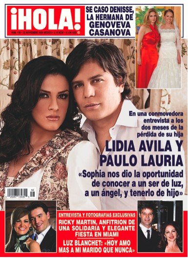 Lidia Avila y su epsoso en Revista HOLA