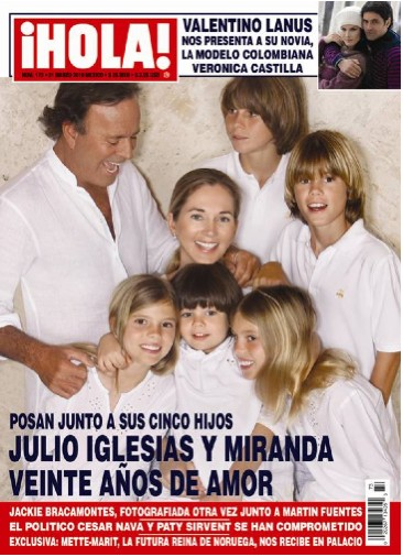 Julio Iglesias con Miranda y sus cinco hijos