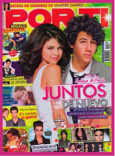 Portada Revista Por Ti con Nick Jonas y Selena Gomez