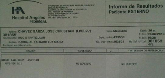 Prueba de VIH de Christian Chavez