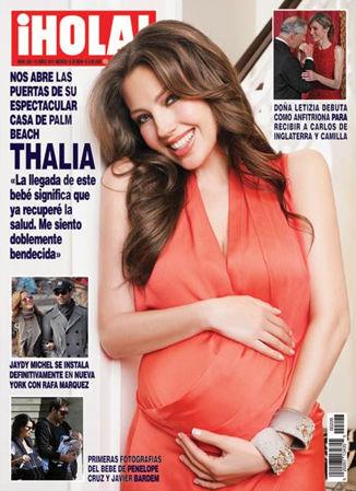 Thalía presume su embarazo en Hola