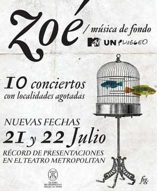 Zoé 21 y 22 de julio en Teatro Metropolitan