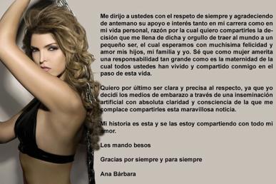 Ana Bárbara envía comunicado para desmentir que Jorge Ramos sea el padre del bebé que espera