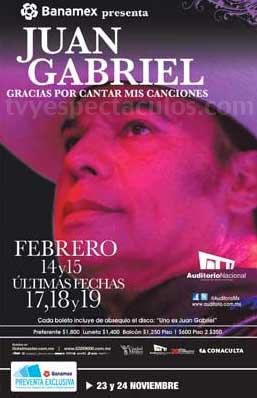 Juan Gabriel 17, 18 y 19 de febrero en Auditorio Nacional