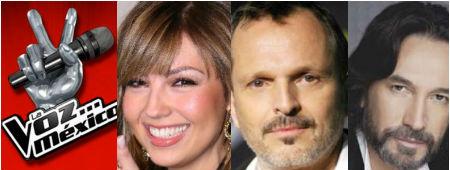 Thalía, Miguel Bosé y Marco Antonio Solís en La Voz México 2