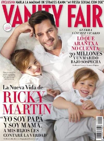 Ricky Martin con sus hijos en Vanity Fair