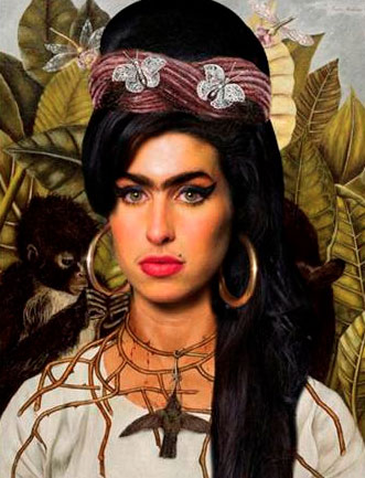 Amy Winehouse al estilo Frida Kalho