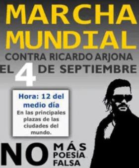 Convocan marcha mundial en contra del cantautor Ricardo Arjona