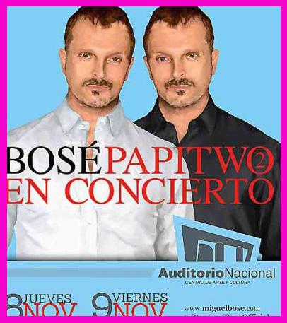 Miguel Bosé en Auditorio Nacional 8 y 9 de noviembre