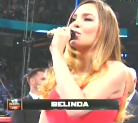 Belinda cantó el Himno Nacional en Las Vegas