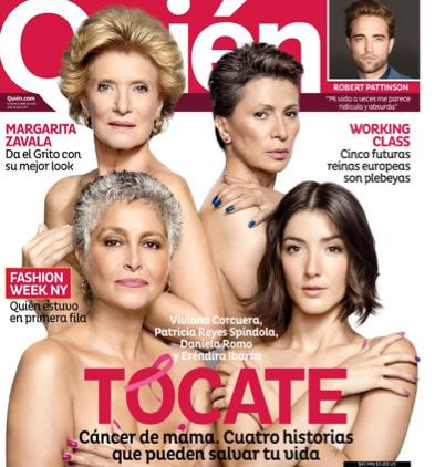 Famosas en Revista Quién invitan a tocarse para prevenir el cáncer de mama
