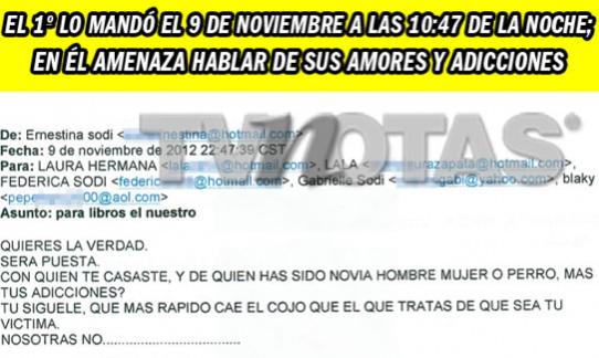Laura Zapata ventila mails amenazadores de sus hermanas