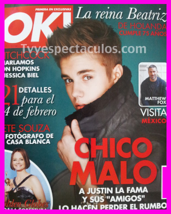 Justin Bieber en portada de la Revista OK!