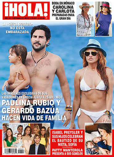 Paulina Rubio de vacaciones en Grecia con su hijo y Gerardo Bazúa