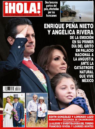 Peña Nieto y Angélica Rivera durante el grito
