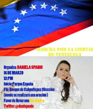 Daniela Spanic convoca a una marcha en DF por Venezuela