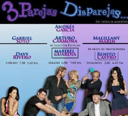 30 de mayo estreno de 3 Parejas disparejas con Gabriel Soto y Maribel Guardia