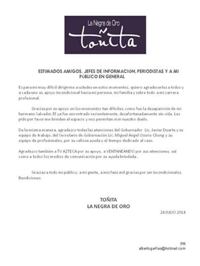 Comunicado Toñita por muerte de su hermano