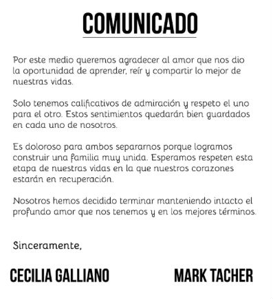 Comunicado Mark Tacher y Cecilia Galliano