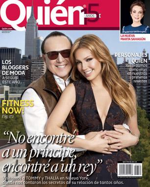 Thalía y Tommy Mottola en Revista Quién