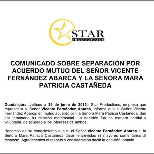 Comunicado divorcio Vicente Fernández Jr