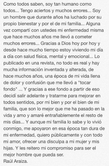 Mensaje de Raúl Araiza