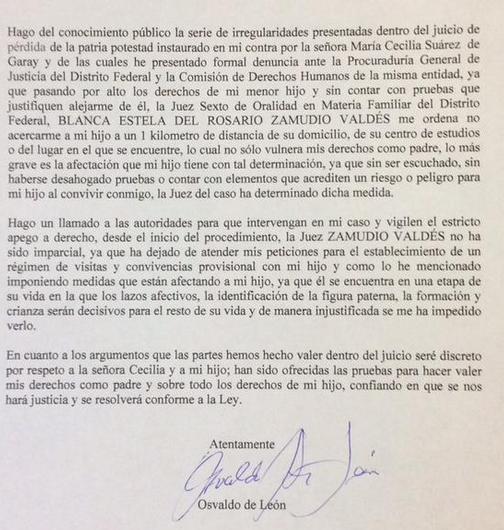 Osvaldo de León envía comunicado