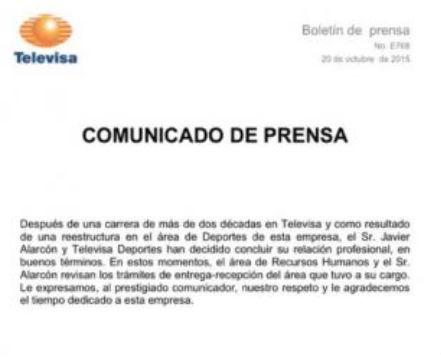 Televisa envía comunicado sobre la salida de Javier Alarcón de Televisa