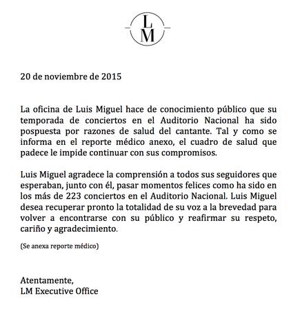 Comunicado de Luis Miguel