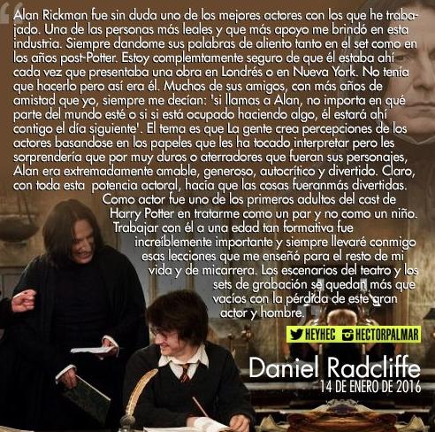 Carta de Daniel Radcliffe a Alan Rickman