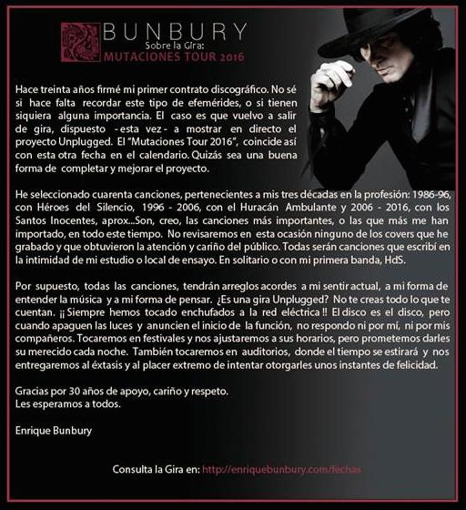 Mensaje de Bunbury 30 años de carrera