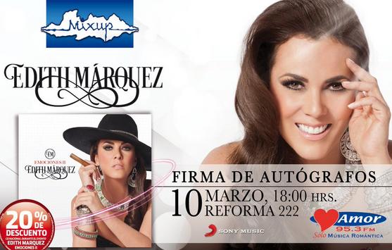 Firma de autógrafos de Edith Márquez 10 de marzo