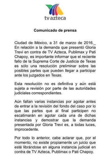Comunicado de Tv Azteca sobre Gloria Trevi
