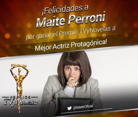 Maite Perroni Mejor Actriz Premios TvyNovelas