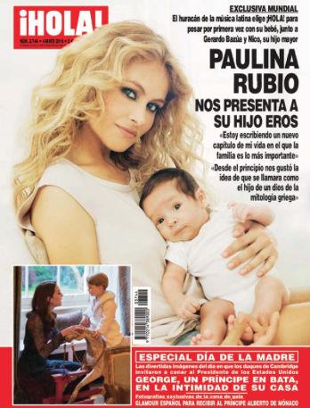 Paulina Rubio y su hijo en Revista Hola