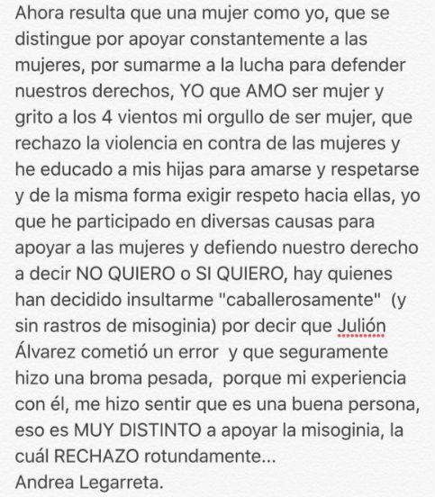 Andrea Legarreta responde a quienes la atacan